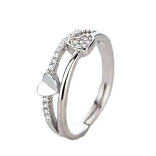 ♡ダブルハート♡ ダイヤモンドcz シルバー925 フリーサイズ 指輪 リング(リング(指輪))