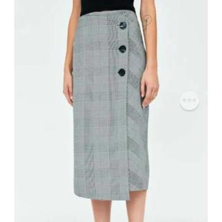 ザラ(ZARA)のzara グレンチェック 巻きスカート ラップスカート(ひざ丈スカート)