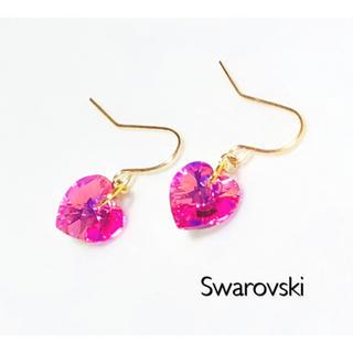SWAROVSKI - スワロフスキーピアスorイヤリング♡ローズオーロラハート