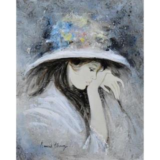 ★ベルナール・シャロワ「憩い」油彩仏6号 真作保証 世界的人気画家!(絵画/タペストリー)