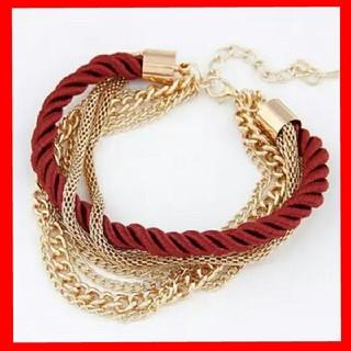 【Xmasセール】ブレスレット 赤 ロープ チェーン(ブレスレット/バングル)