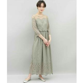 新品未使用 チュール×パネルレースドレス アダムエロペ ペールグリーン (ロングワンピース/マキシワンピース)