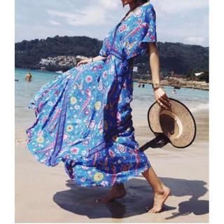大人気?ロングワンピース 花柄 ボヘミアン リゾート ブルー S ザラ H&M(ロングワンピース/マキシワンピース)