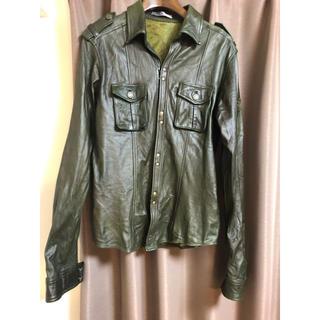 エムケーミッシェルクランオム(MK MICHEL KLEIN homme)のMKオム レザーシャツジャケット 美品(レザージャケット)