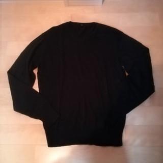 無印 ニット セーター Vネック 黒 コットンシルク M メンズ