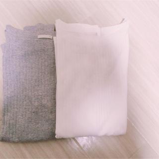 ジーユー(GU)の新品未使用 GU リブロンT 2枚セット(カットソー(長袖/七分))