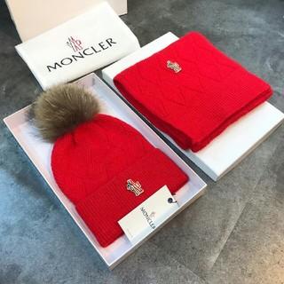 モンクレール(MONCLER)のMONCLER モンクレール ニット帽子 レディース マフラー 二点セット(マフラー/ショール)