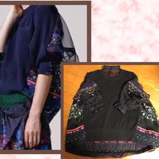 sacai - サカイ sacai コレクション 美品 バック 刺繍 ニット オーガンジー