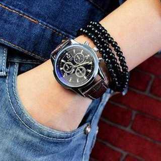 MC081 送料無料♪腕時計  メンズ アナログ クォーツ 黒 革ベルト(腕時計(アナログ))