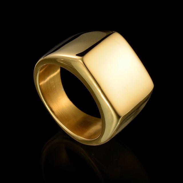 印台リング ゴールド ステンレス製 レディースのアクセサリー(リング(指輪))の商品写真