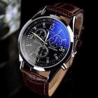 MC082 送料無料♪腕時計 メンズ アナログ クォーツ 茶 革ベルト(腕時計(アナログ))
