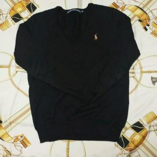 ラルフローレン(Ralph Lauren)の黒 Vネックセーター(ニット/セーター)