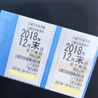 近鉄株主優待券 近鉄全線切符 2枚セット
