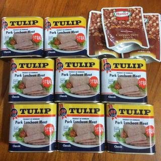 チューリップポーク8缶、コンビーフハッシュ3袋(缶詰/瓶詰)