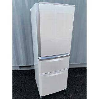 ミツビシデンキ(三菱電機)の三菱 冷凍冷蔵庫 自動製氷付き 3ドア 335L ホワイト 美品(冷蔵庫)