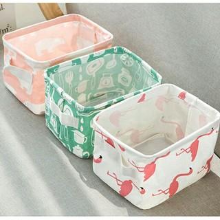収納箱/フラミンゴ クマ 小物入れ 麻素材 収納カゴ / 雑物収納/折り畳み収納(小物入れ)