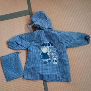 ファミリア(familiar)のファミリア レインコート 80cm 青 ギンガムチェック 収納袋つき(レインコート)