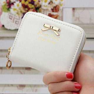 MC147*リボンモチーフ*折り畳み財布 ホワイト(財布)