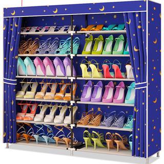 組み立てシューズラック 靴収納 棚 6段2列 星柄 カバー付き(玄関収納)