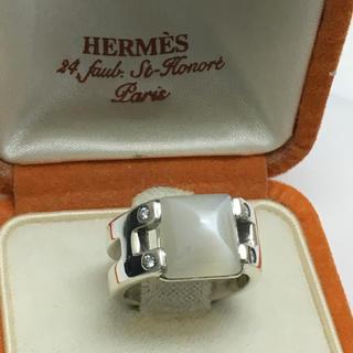 エルメス(Hermes)のHERMES エルメス ムーンストーン ダイヤ シルバーリング磨き済み(リング(指輪))