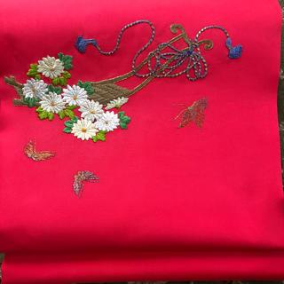 正絹  刺繍名古屋帯(帯)