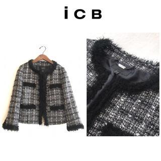 iCB☆アイシービー★ノーカラー  ツイード  ジャケット