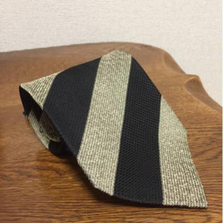 アトリエサブ(ATELIER SAB)のATELIER SAB アトリエ サブ ストライプネクタイ 日本製 黒×ベージュ(ネクタイ)