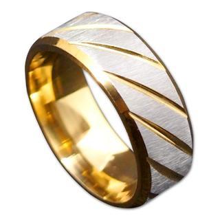 【31号】【ゴールド】ステンレスツイルリング 指輪 メンズ レディース(リング(指輪))