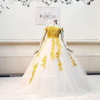 ウエディングドレス(パニエ無料) ゴールドレースドレス 披露宴/二次会(ウェディングドレス)