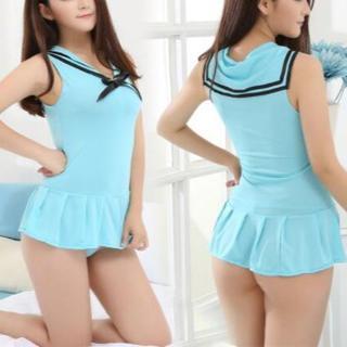 水着風ワンピース 超ミニスカート 極薄 透け透け 肌触りの良い リボン(衣装一式)