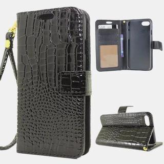 iPhone8 7 光沢 クロコダイル 手帳型ケース 液晶フィルム ブラック(iPhoneケース)