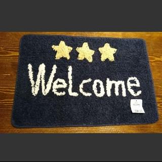 【再再入荷】スター × ネイビー Welcome デザイン マット(玄関マット)