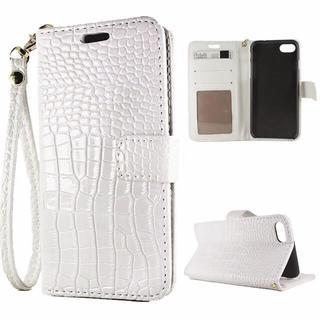iPhone8 7 光沢 クロコダイル 手帳型ケース 液晶フィルム ホワイト(iPhoneケース)