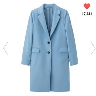ジーユー(GU)の完売‼️新品タグ付⭐チェスターコート ブルー S(チェスターコート)