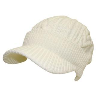 帽子 レディース クリスマス ニット キャスケッツイストスリー ホワイト(ニット帽/ビーニー)