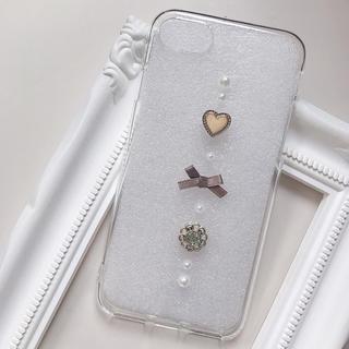 ヴィンテージボタン ハート iPhone8/7 クリアケース(スマホケース)