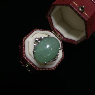 天然翡翠石のシルバーリング(リング(指輪))
