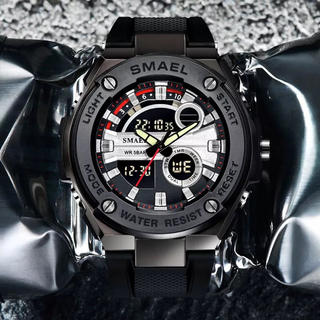 値下げしました!NEW多機能メンズ腕時計防水&耐衝撃デュアルディスプレイブラック