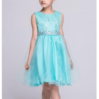キラキラ 姫系 子供ドレス ワンピース 女の子 子供服 エメラルドグリーン140(ドレス/フォーマル)