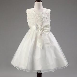 【結婚式、発表会に】★ 女の子 ドレス★ ホワイト 120.140センチ(ドレス/フォーマル)