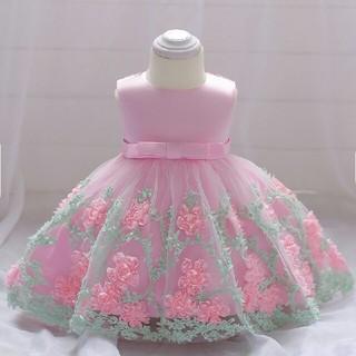 100☆新品☆可愛いフラワーモチーフバックリボンドレス☆ピンク(ドレス/フォーマル)