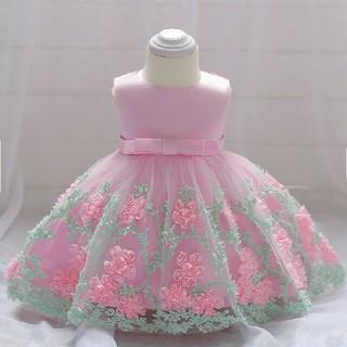 90☆新品☆可愛いフラワーモチーフバックリボンドレス☆ピンク(ドレス/フォーマル)