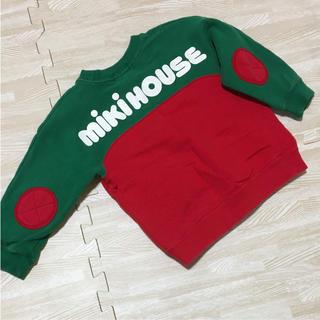 ミキハウス(mikihouse)のミキハウス トレーナー 赤 緑 ロゴ 90(Tシャツ/カットソー)