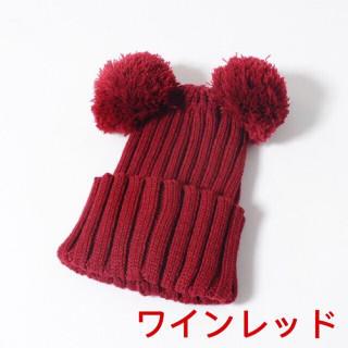 子供用ニット帽☆ミッキー風☆ワインレッド(帽子)