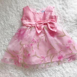 Catherine Cottage - ◆ベビードレス*花柄オーガンジー 80◆ピンク/リボン 女児 キャサリンコテージ