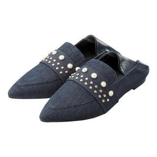 ジーユー(GU)のジーユー gu パールスタッズバブシューズ ローファー スタッズ パール レザー(ローファー/革靴)