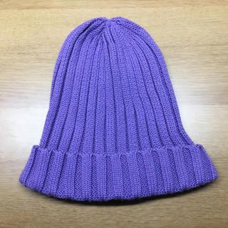ジーユー(GU)のニット帽 パープル 紫(ニット帽/ビーニー)
