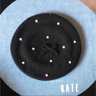 ケイトスペードニューヨーク(kate spade new york)のケイトスペード    新品タグ付き!ベレー帽 ブラック パール 01(ハンチング/ベレー帽)