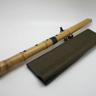 良品 和楽器  尺八  7穴 竹菅  55cm D管#0134
