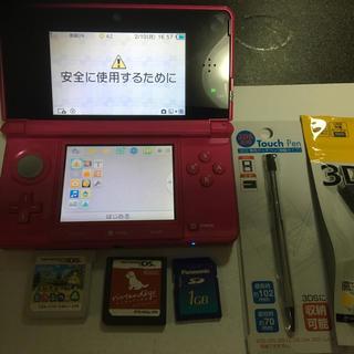 ニンテンドー3DS(ニンテンドー3DS)のニンテンドー3ds グロスピンク美品ソフト2個(携帯用ゲーム本体)